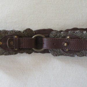 Anthropologie Jasper and Jeera Beaded Seather Belt Sz. S